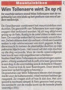 Wim Tollenaere wint 3x op rij